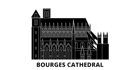 France, Bourges Cathedral Landmark flat travel skyline set. France, Bourges Cathedral Landmark black city vector panorama, illustration, travel sights, landmarks, streets.