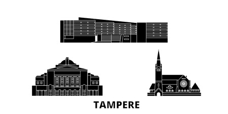 Finland, Tampere flat travel skyline set. Finland, Tampere black city vector panorama, illustration, travel sights, landmarks, streets.