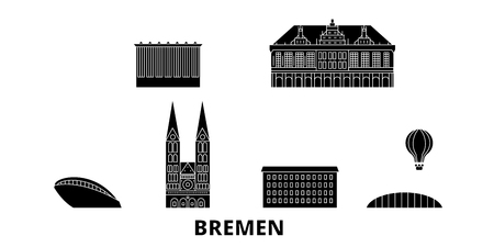 Germany, Bremen flat travel skyline set. Germany, Bremen black city vector panorama, illustration, travel sights, landmarks, streets. Çizim
