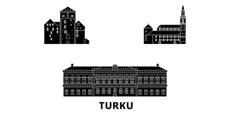 Finland, Turku flat travel skyline set. Finland, Turku black city vector panorama, illustration, travel sights, landmarks, streets.