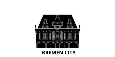Germany, Bremen City flat travel skyline set. Germany, Bremen City black city vector panorama, illustration, travel sights, landmarks, streets.