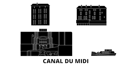 France, Canal Du Midi  flat travel skyline set. France, Canal Du Midi  black city vector panorama, illustration, travel sights, landmarks, streets.