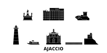 France, Ajaccio flat travel skyline set. France, Ajaccio black city vector panorama, illustration, travel sights, landmarks, streets. Illustration