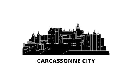 France, Carcassonne City flat travel skyline set. France, Carcassonne City black city vector panorama, illustration, travel sights, landmarks, streets.  イラスト・ベクター素材