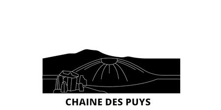 France, Chaine Des Puys flat travel skyline set. France, Chaine Des Puys black city vector panorama, illustration, travel sights, landmarks, streets.