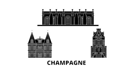 France, Champagne flat travel skyline set. France, Champagne black city vector panorama, illustration, travel sights, landmarks, streets.  イラスト・ベクター素材