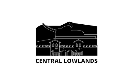Germany, Central Lowlands flat travel skyline set. Germany, Central Lowlands black city vector panorama, illustration, travel sights, landmarks, streets. 일러스트
