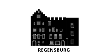 Germany, Regensburg flat travel skyline set. Germany, Regensburg black city vector panorama, illustration, travel sights, landmarks, streets. Illustration