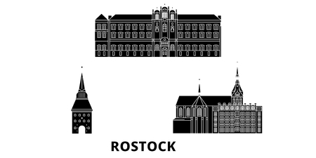 Germany, Rostock flat travel skyline set. Germany, Rostock black city vector panorama, illustration, travel sights, landmarks, streets.