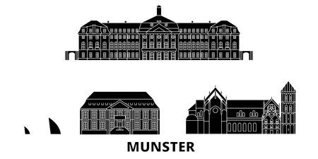Germany, Munster flat travel skyline set. Germany, Munster black city vector panorama, illustration, travel sights, landmarks, streets.