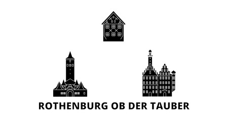 Germany, Rothenburg Ob Der Tauber flat travel skyline set. Germany, Rothenburg Ob Der Tauber black city vector panorama, illustration, travel sights, landmarks, streets.