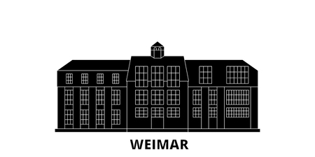Germany, Weimar,Bauhaus flat travel skyline set. Germany, Weimar,Bauhaus black city vector panorama, illustration, travel sights, landmarks, streets.