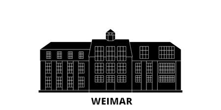 Germany, Weimar,Bauhaus flat travel skyline set. Germany, Weimar,Bauhaus black city vector panorama, illustration, travel sights, landmarks, streets.