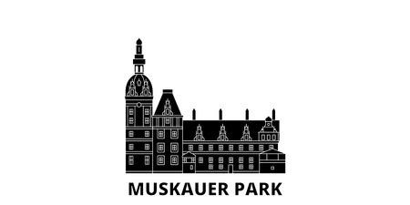 Germany, Muskauer Parki flat travel skyline set. Germany, Muskauer Parki black city vector panorama, illustration, travel sights, landmarks, streets. Çizim