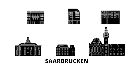 Germany, Saarbrucken flat travel skyline set. Germany, Saarbrucken black city vector panorama, illustration, travel sights, landmarks, streets. 일러스트