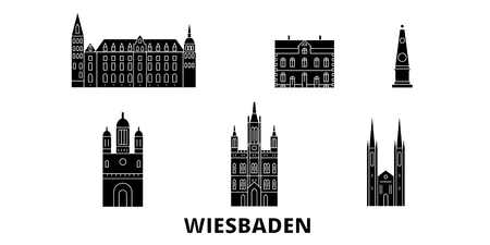 Germany, Wiesbaden flat travel skyline set. Germany, Wiesbaden black city vector panorama, illustration, travel sights, landmarks, streets.