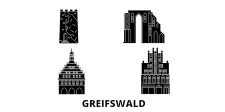 Germany, Greifswald flat travel skyline set. Germany, Greifswald black city vector panorama, illustration, travel sights, landmarks, streets.