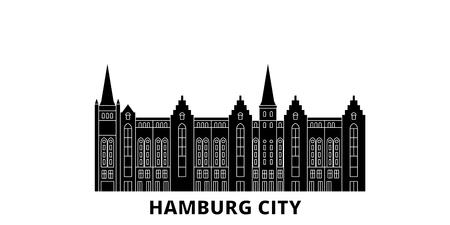 Alemania, Hamburgo ciudad plana horizonte de viaje. Alemania, ciudad de Hamburgo, panorama vectorial de la ciudad negra, ilustración, lugares turísticos, monumentos, calles.