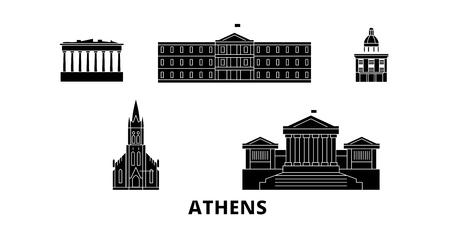 Grecia, Atenas, horizonte de viaje plano. Grecia, Atenas panorama vectorial de la ciudad negra, ilustración, lugares turísticos, monumentos, calles. Ilustración de vector