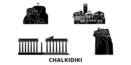 Greece, Chalkidiki flat travel skyline set. Greece, Chalkidiki black city vector panorama, illustration, travel sights, landmarks, streets. Çizim