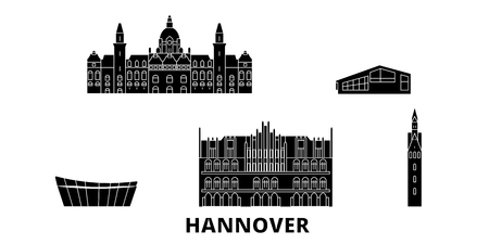 Germany, Hannover flat travel skyline set. Germany, Hannover black city vector panorama, illustration, travel sights, landmarks, streets.