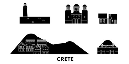 Greece, Crete flat travel skyline set. Greece, Crete black city vector panorama, illustration, travel sights, landmarks, streets. Çizim