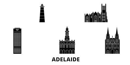 Australia, Adelaide flat travel skyline set. Australia, Adelaide black city vector panorama, illustration, travel sights, landmarks, streets. Ilustração