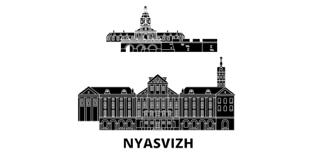 Belarus, Nyasvizh flat travel skyline set. Belarus, Nyasvizh black city vector panorama, illustration, travel sights, landmarks, streets.  イラスト・ベクター素材