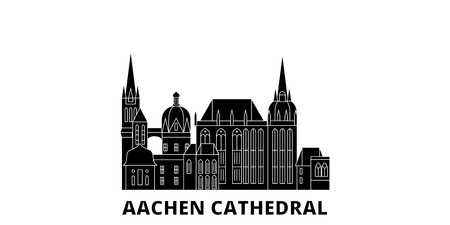 Germany, Aachen Cathedral flat travel skyline set. Germany, Aachen Cathedral black city vector panorama, illustration, travel sights, landmarks, streets. Illustration