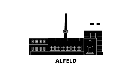 Germany, Alfeld flat travel skyline set. Germany, Alfeld black city vector panorama, illustration, travel sights, landmarks, streets.