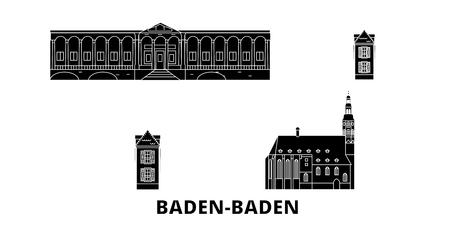 Germany, Baden Baden flat travel skyline set. Germany, Baden Baden black city vector panorama, illustration, travel sights, landmarks, streets. Çizim