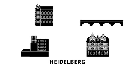 Germany, Heidelberg flat travel skyline set. Germany, Heidelberg black city vector panorama, illustration, travel sights, landmarks, streets.