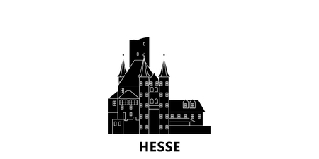 Germany, Hesse, Upper Middle Rhine Valley flat travel skyline set. Germany, Hesse, Upper Middle Rhine Valley black city vector panorama, illustration, travel sights, landmarks, streets.