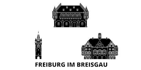 Germany, Freiburg Im Breisgau flat travel skyline set. Germany, Freiburg Im Breisgau black city vector panorama, illustration, travel sights, landmarks, streets.