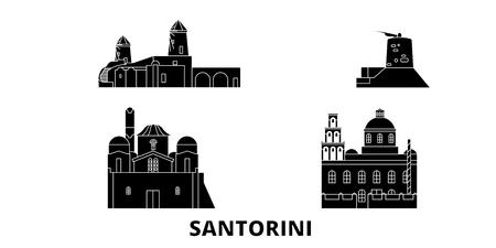 Griechenland, Santorini flache Reise-Skyline-Set. Griechenland, Santorini schwarzes Stadtvektorpanorama, Illustration, Reiseanblicke, Sehenswürdigkeiten, Straßen.