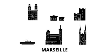 France, Marseille flat travel skyline set. France, Marseille black city vector panorama, illustration, travel sights, landmarks, streets.