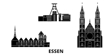 Germany, Essen flat travel skyline set. Germany, Essen black city vector panorama, illustration, travel sights, landmarks, streets. Иллюстрация