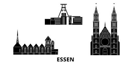 Germany, Essen flat travel skyline set. Germany, Essen black city vector panorama, illustration, travel sights, landmarks, streets. Illustration