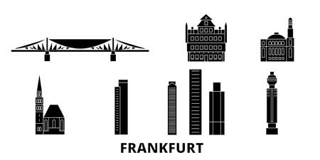 Germany, Frankfurt flat travel skyline set. Germany, Frankfurt black city vector panorama, illustration, travel sights, landmarks, streets.