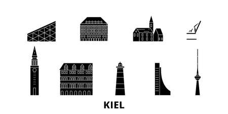 Germany, Kiel flat travel skyline set. Germany, Kiel black city vector panorama, illustration, travel sights, landmarks, streets. Illustration