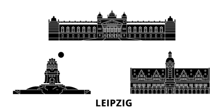 Germany, Leipzig flat travel skyline set. Germany, Leipzig black city vector panorama, illustration, travel sights, landmarks, streets. Archivio Fotografico - 120659416