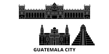 Guatemala, Guatemala City flat travel skyline set. Guatemala, Guatemala City black city vector panorama, illustration, travel sights, landmarks, streets. Illustration