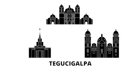 Honduras, Tegucigalpa flat travel skyline set. Honduras, Tegucigalpa black city vector panorama, illustration, travel sights, landmarks, streets. Ilustração