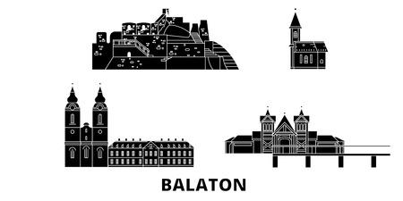 Hungary, Balaton flat travel skyline set. Hungary, Balaton black city vector panorama, illustration, travel sights, landmarks, streets.