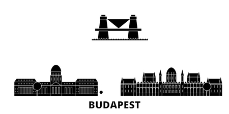 Hungary, Budapest flat travel skyline set. Hungary, Budapest black city vector panorama, illustration, travel sights, landmarks, streets. Illusztráció