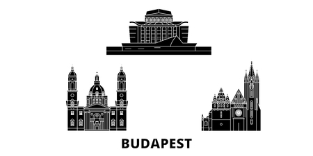 Hungary, Budapest City flat travel skyline set. Hungary, Budapest City black city vector panorama, illustration, travel sights, landmarks, streets.