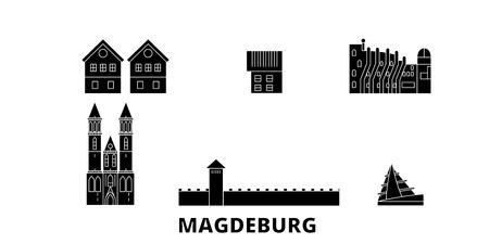 Germany, Magdeburg flat travel skyline set. Germany, Magdeburg black city vector panorama, illustration, travel sights, landmarks, streets.