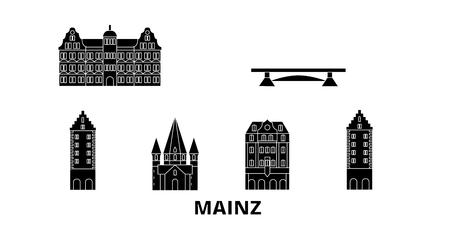 Deutschland, Mainz flache Reise-Skyline-Set. Deutschland, Mainz schwarzes Stadtvektorpanorama, Illustration, Reiseanblicke, Sehenswürdigkeiten, Straßen.