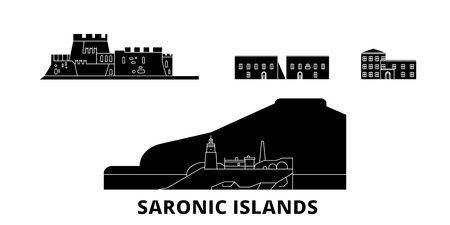 Greece, Saronic Islands flat travel skyline set. Greece, Saronic Islands black city vector panorama, illustration, travel sights, landmarks, streets. Çizim