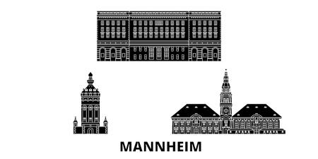 Alemania, Mannheim plana horizonte de viaje. Alemania, Mannheim panorama vectorial de la ciudad negra, ilustración, lugares turísticos, monumentos, calles.